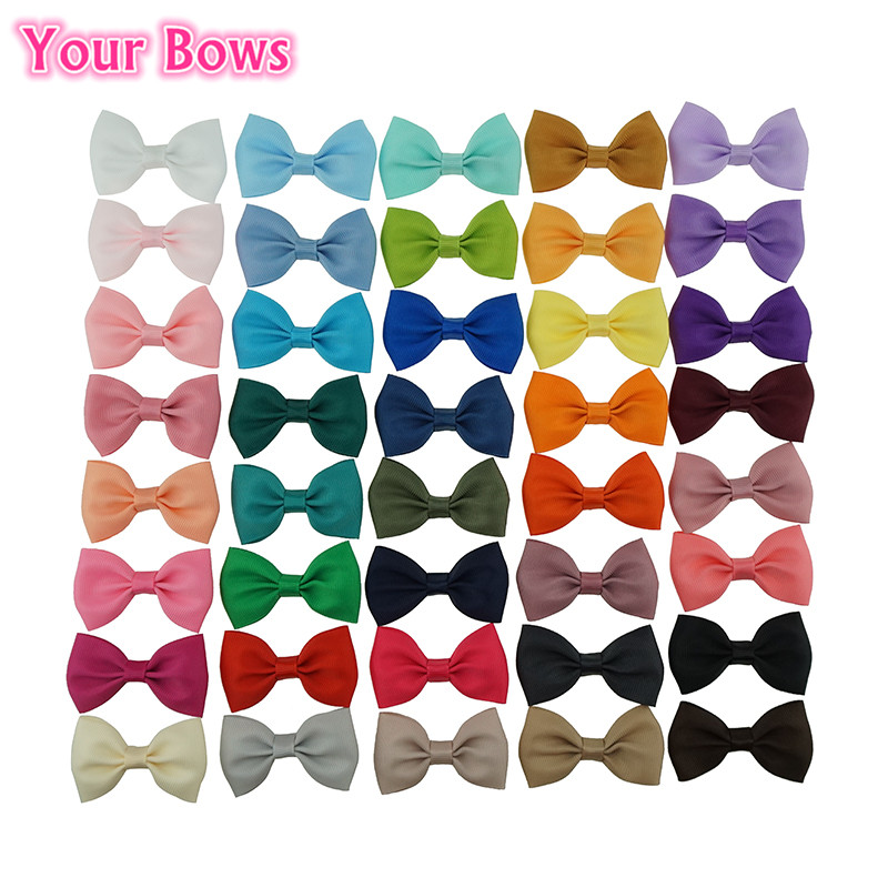 Your Bows 40Pcs/Lot 2.5Inch Hair Clips For Girls 40Colors Kids Girls Hair Bows Small Mini Bows Hairpins Girls Hair Accessories
