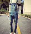 2016 Spring  Teenage Men's Fashion Personality Denim Jumpsuits Bib Pants Hole Ripped Vintage Skinny Pencil Jeans Overalls work
