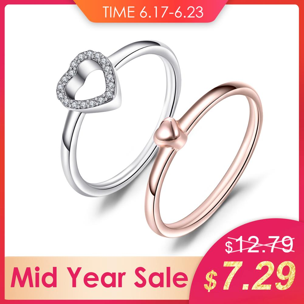 Jewelrypalace Heart love Two Tone 925 Sterling Silver Heart to Heart Rings Set For Mother And Daughter New Hot Sale Fine JewelryJewelrypalace Heart love Two Tone 925 Sterling Silver Heart to Heart Rings Set For Mother And Daughter New Hot Sale Fine Jewelry