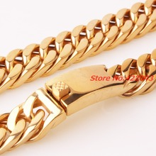 New Casting Clasp  Gold  color  Heavy 7″-40″ 15mm Curb Cuban Chain Necklace or Bracelet 316L Stainless Steel Mens Jewelry Gift