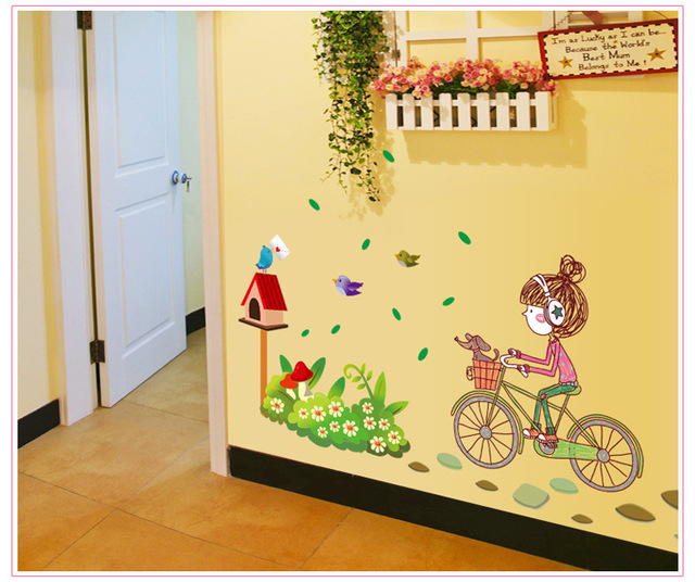 Little Girl Fairytale & Fantasy Bike Bicycle Kit Playroom Wall Art ...