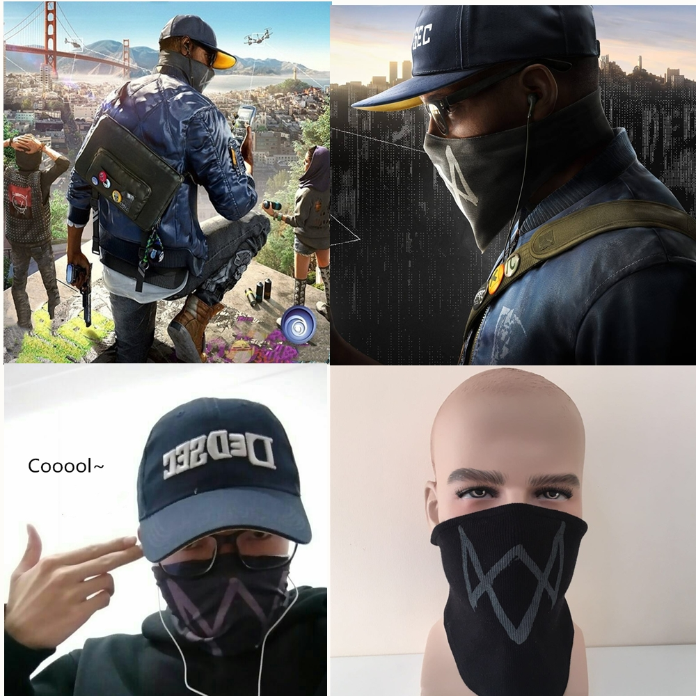 Watch Dogs 2 Mask Marcus Holloway Halloween Party Mask -avain Cosplay-puuvilla Rib -kankaat New Game Black Color