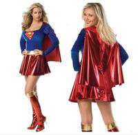 Frete grátis Supergirl Mulheres Costume Mulheres sexy halloween trajes Sexy Super Herói Adulto Mulheres Traje