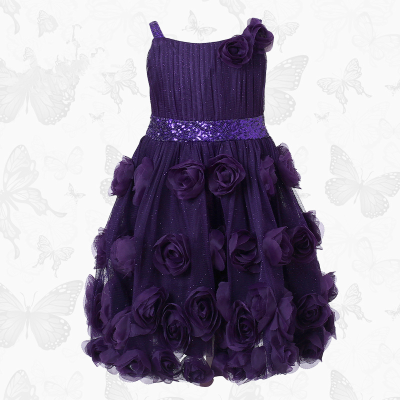 W.L.Monsoon brand Children's clothing Girls dress Children's suspender dress purple Pleated Princess dress plus frill trim pleated dress