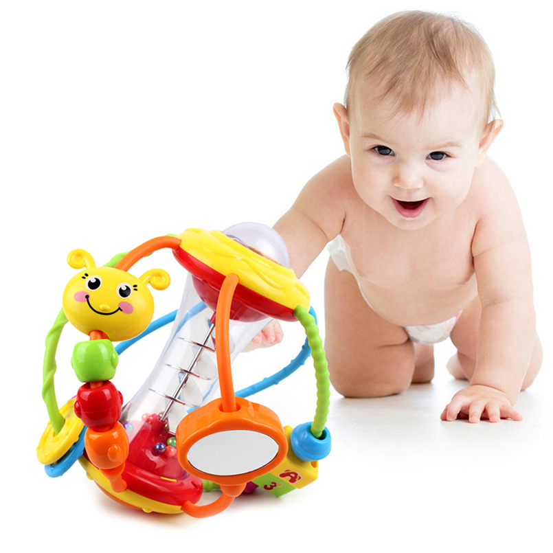 Apaffa Newborn Baby Rattle Educational Learning Toys Mobile Musical Rattle Toys For Baby Hand Rattles Baby Toys 0-12 Months