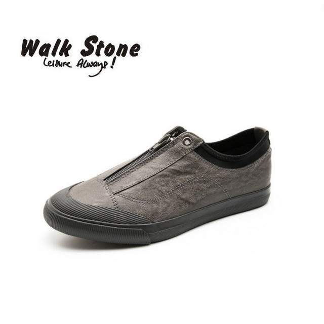 7b4af98d8db Walk Stone Brand Men s Canvas Shoes Fashion Casual Breathable Zipper Loafers  Comfort Flats Men Vulcanized Shoes chaussure homme