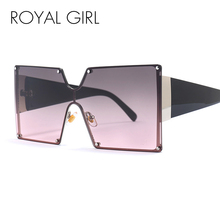 Royal Girl Oversized Sunglasses Square Vintage Luxury Metal Frame One Piece Lens Big Sun Glasses Men Uv400 Goggles ss391