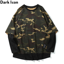 Dark Icon Camouflage Patchwork Mens Sweatshirts Fake 2pcs Men Camo Sweatshirt