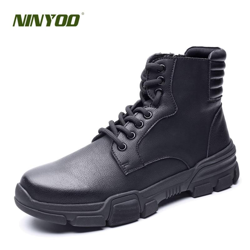 442d70cbc NINYOO/новая осенне-зимняя обувь, мужские Ботильоны из натуральной кожи,  ботинки-дезерты в стиле вестерн, непромокаемые уличные армейские боти.