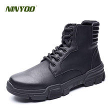 NINYOO New Autumn Winter Shoes Men Genuine Leather Ankle Boots Desert Western Martens Weaproof Outdoor Army Big Size 45 46