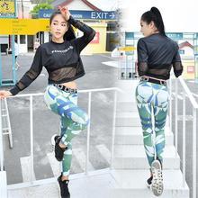 Sport Suit Fitness Yoga Set Mesh Top&Bra&Skinny Camouflage 3 Piece Tracksuit Women Black Gym Shrit Outdoor Battle Fatigues Pants