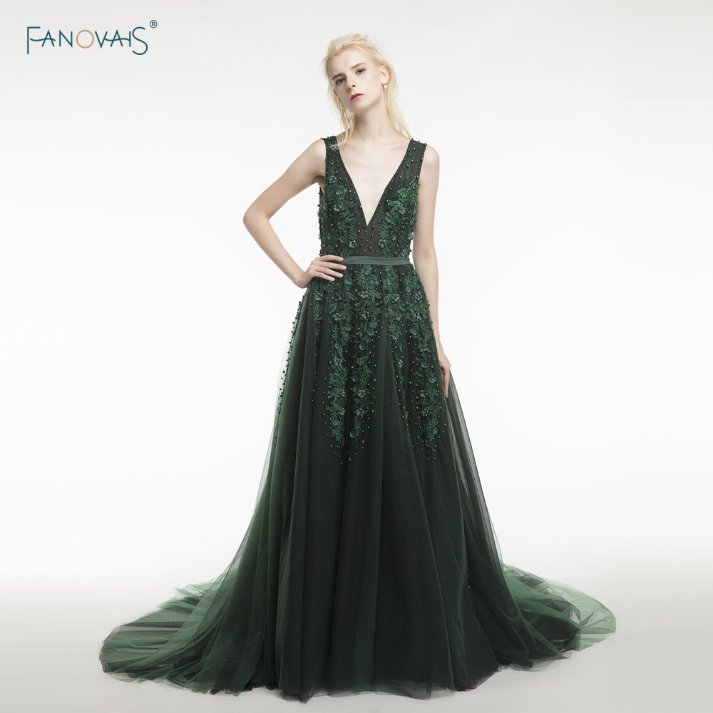 Real Image Deep Green Sexy Evening Dresses 2017 Prom Party Gown Luxury  Exquisite Floral Beaded Crystal vestidos de Fiesta ASAE07 192e48567d73