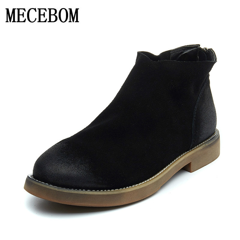 2018 Autumn Spring winter Chelsea Boots Women Ankle Boots genuine Martin Boots Retro Vintage Fashion Boots Botas Mujer 1177W fashion women ankle boots vintage nubuck chealsa boots motorcycle martin boot winter warm autumn shoes botas mujer