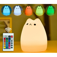 LumiParty LED Carton Night Light Silicone USB Charge Remote Timer Cute Cat Lamp Tap Control Lamp