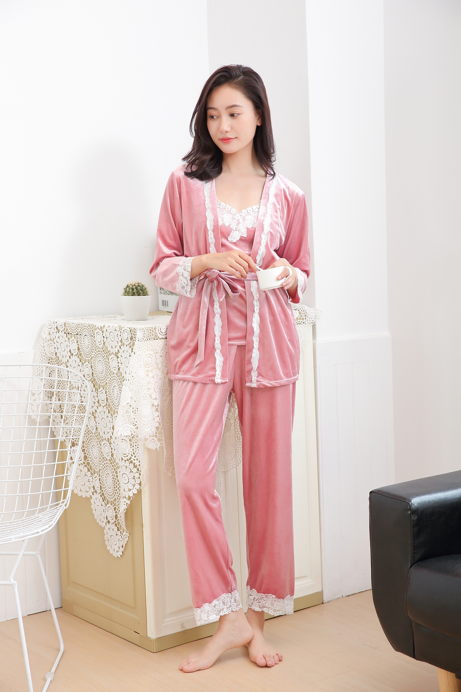 dress home short autumn skin pajamas product comforter comfortable friendly cotton mother m spring andstylish sleeved service and