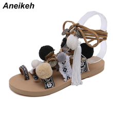 Aneikeh Bohemia Style Fringed Pompoms Lady Gladiator Fringed Sandals Shoes Cross Strap tie up Women Flats Sandals size 35-40