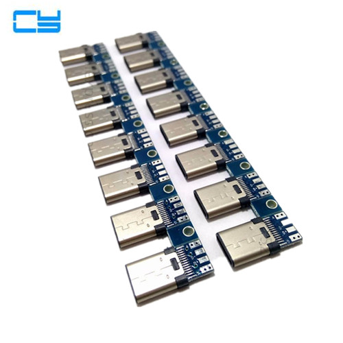 10pcs/Lot DIY 24pin USB 3.1 Type C USB-C Male welding soldering Plug Connector SMT Type Сварка