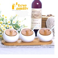 Herb & Spice Tools Ceramic white sauce pot set condiment jar with cover 3pcs set with wooden pallet and small white spoons