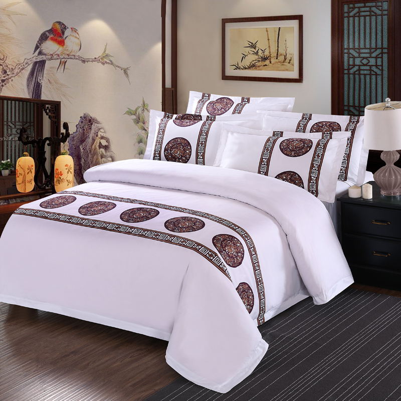 Hotel Collection King Size Quilts: New 100% Cotton White Prints Luxury Bedding Set 4Pcs King