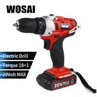 WOSAI 20 Volt Lithium Battery Electric Drill Cordless Electric Hand Drill Power Rechargeable Tools Screwdriver Power Driver