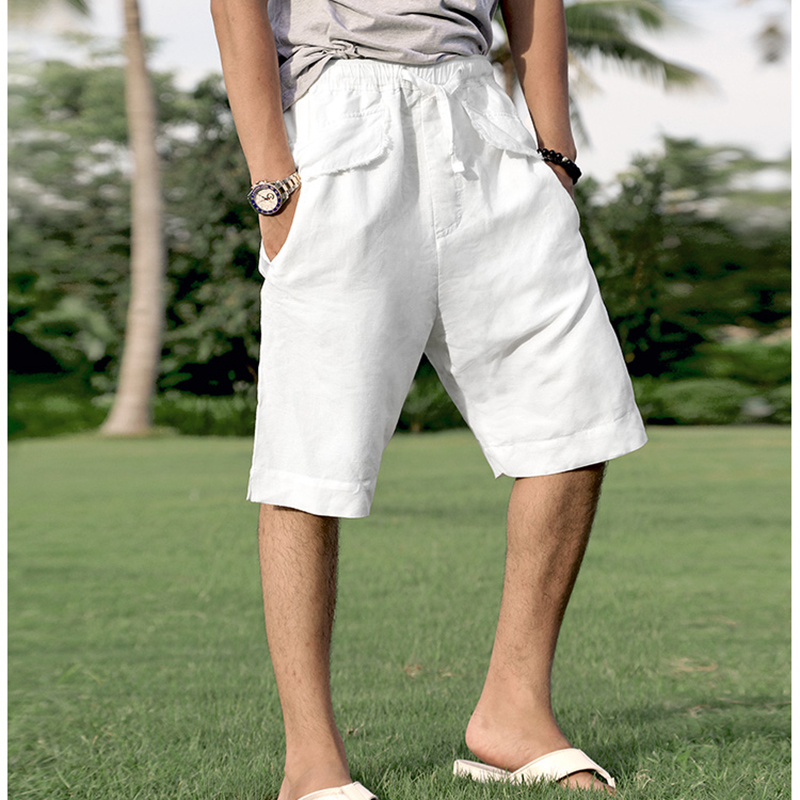 New Summer Men Linen Solid Shorts Men European Style Fashion Casual Top Quality Short Pants Men Knee Length Slim Shorts