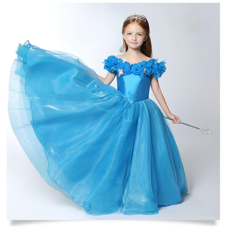 Custom Made Blue Ball Gown Children Cinderella Dress for Girl\'s Off ...