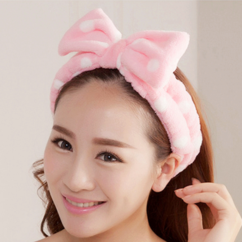 New Fashion For Womens Girls Cute Bow Stretch Headband   Headwear   Lady Bath Spa Gift Headdress Hair Band Accessories Makeup Tools