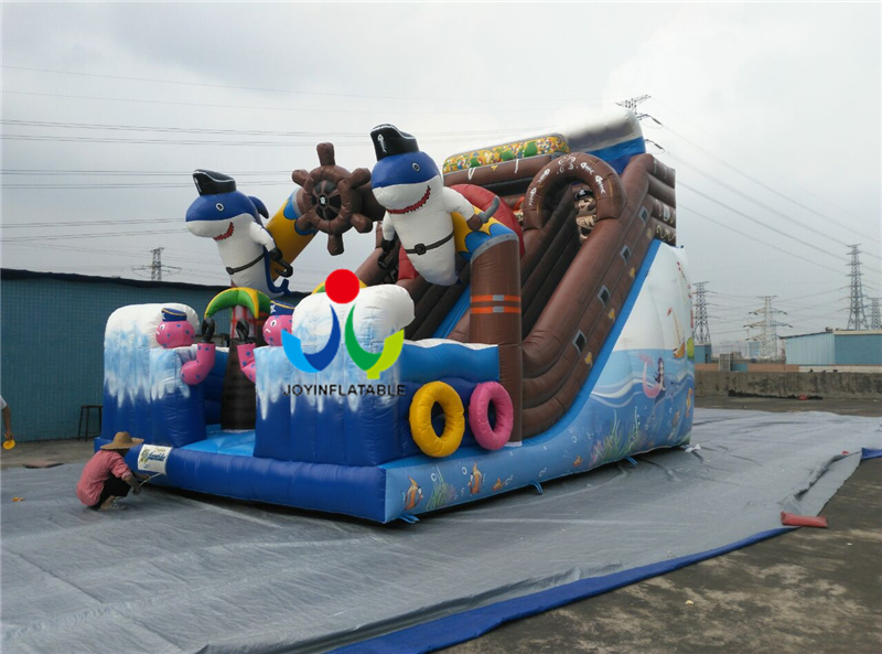 9X4M Commercial Games Inflatable Ship Dry Slide for Children Playing