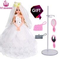 2017 New UCanaan Luxury White Wedding Princess Doll With Head Yarn Fashion Girl Toys Best Friend