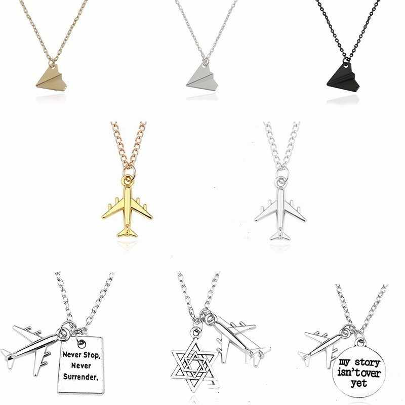Air Plane Chokers For Women Fashion Pendant Statement Necklace Stainless Steel Chains Pendants&Necklaces For Gifts Dropshipping