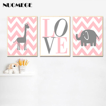 Pink and Grey Nursery Decor Giraffe Elephant Wall Art Poster prints Baby Gift Canvas Picture Modern Home Decoration Painting