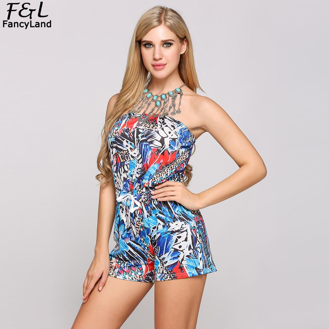 Women Jumpsuits 2018 Summer Bodysuit Women Printed ...
