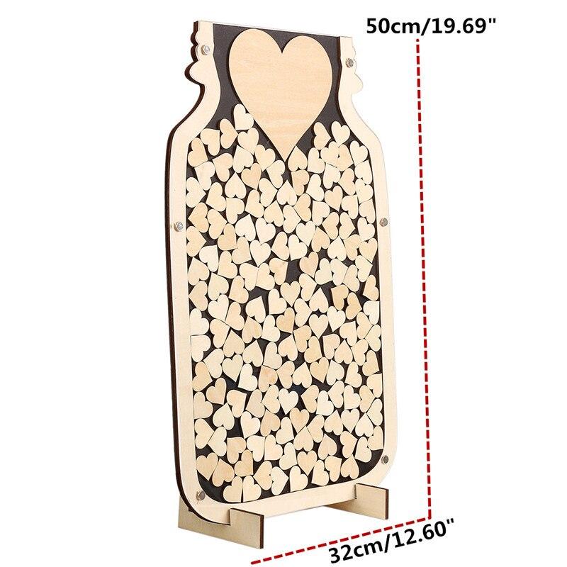 150 pièces bricolage décor de mariage livre d'or de mariage en bois livres d'invité Alternative rustique bocal de maçon bois coeur boîte de baisse