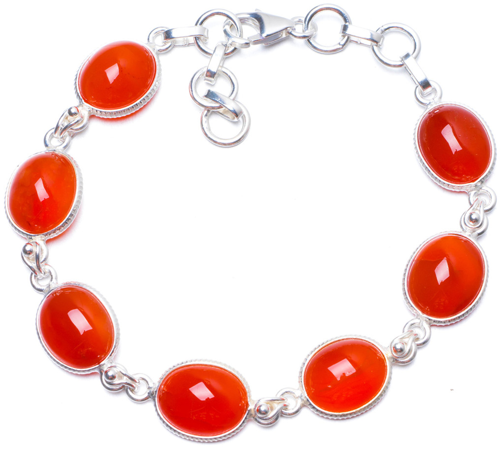 цена Natural Carnelian Handmade Unique 925 Sterling Silver Bracelet 7 1/4-8