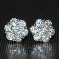 Genuine18K 750 White Gold Push Back 1.6 Carat ct F Color Test  Positive Lab Grown Moissanite Diamond Flower Shaped Earrings