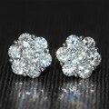 Genuine18K Ouro Branco 750 Empurrar Para Trás 1.6 Carat Test Lab Positiva Grown Moissanite ct F Cor de Diamante Em Forma de Flor Brincos