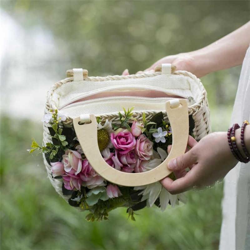 Ống Hút Nữ Tay Cầm Bằng Gỗ Túi Xách Bãi Biển Nhỏ Túi Tote Túi Nữ Du Lịch Túi Xách Đi Biển 2019 Mới Hoa Handmade Dệt túi