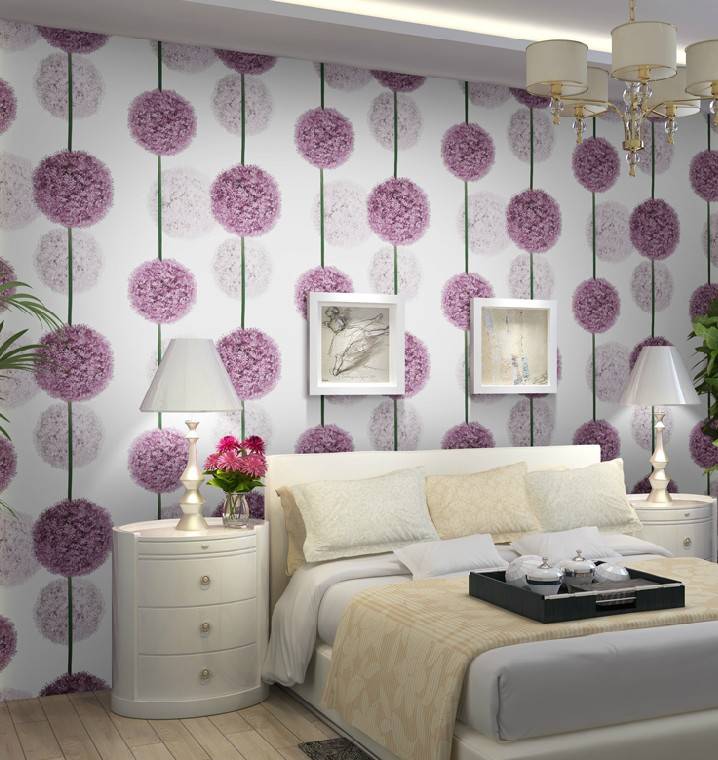 Aliexpress.com : Buy Purple Flower 3D Wallpaper Modern PVC ...
