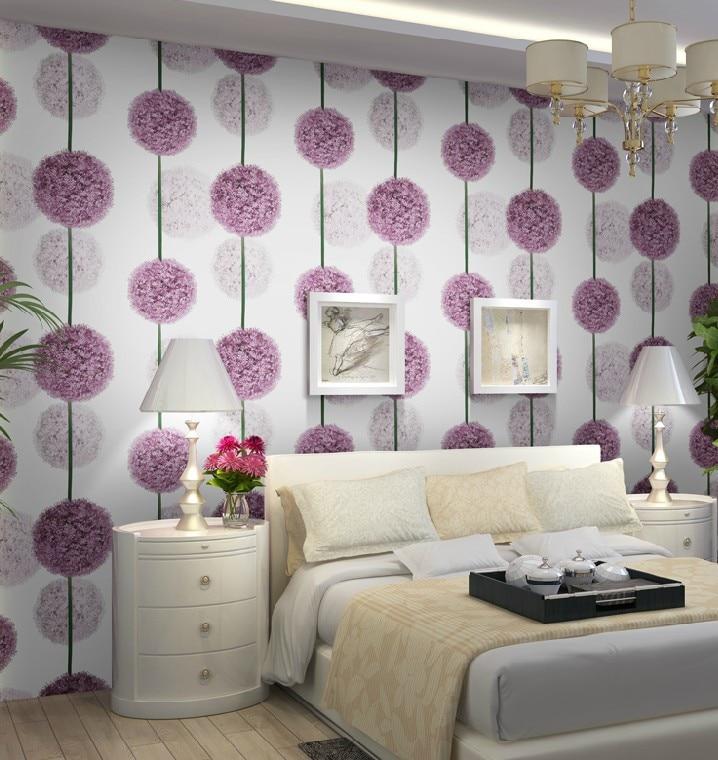 purple bedroom flower floral living paper roll tapet dormitor pvc behang papel dedeman woonkamer moderne parede sau contra mural waterproof