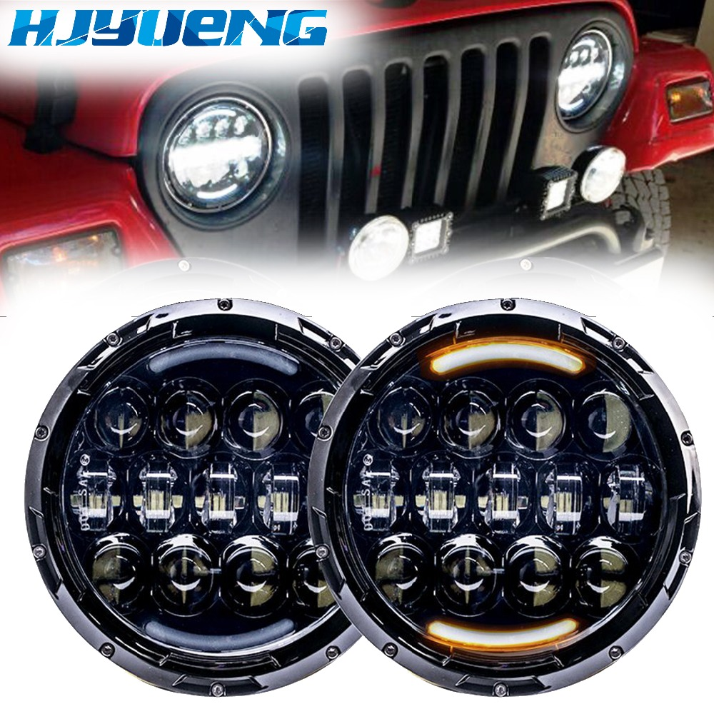 2 pièces 105 W pour Jeep Wrangler Jk Tj Hummer H1 H2 phare LED H4 7 pouces phare LED rond avec clignotant blanc/ambre DRL