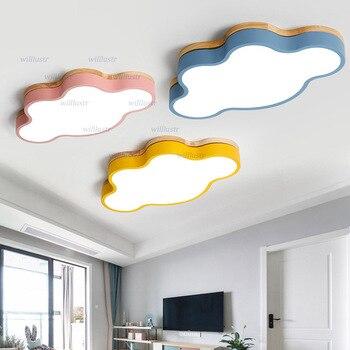Colorful Cloud LED Ceiling Lamp Wooden Iron Light Hotel Restaurant Kindergarten Nursery Baby Room Modern Macaron Color Lighting