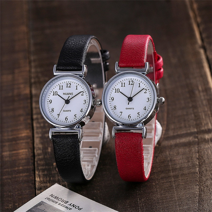 Small Dial Leather Band Analog Movement Wrist Watch 5