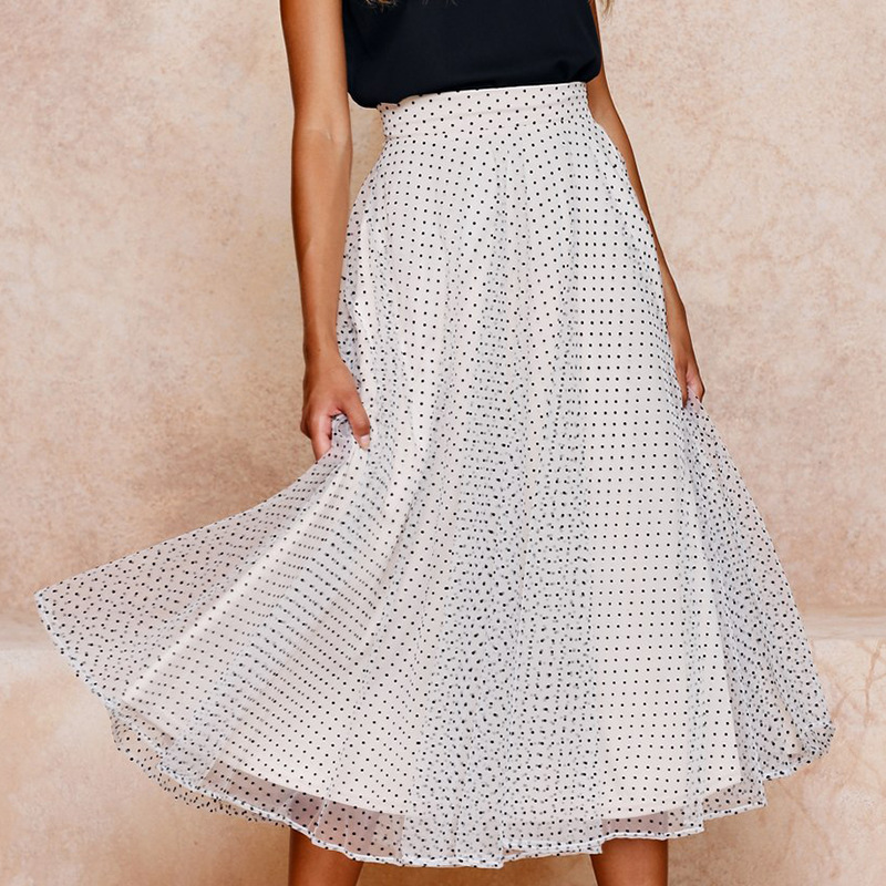 Лидер продаж Лето 2019 г. модные длинные юбки Женская Новая мода белый горошек Высокая талия повседневное шифоновая юбка