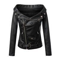 Femmes Mode Marque Faux Veste En Cuir Slash Cou Épaule Moto Mince PU Veste Dames Sexy Noir Manteau