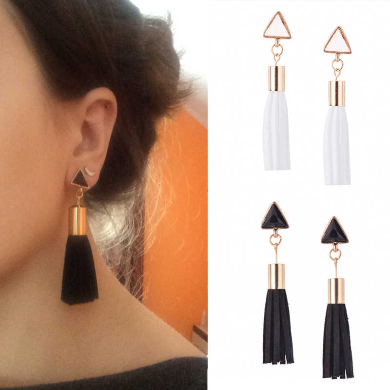 E077 Hot Sale Black White Leather Tassel Earrings For Women Girl Statement Ear Jewelry Excellent Gift Wholesale Drop Shipping