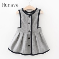 Korean Casual Dress Single Breasted Children Fashion Lovely Party Cute Kids Sleeveless Dresses Patchwork Vestidos