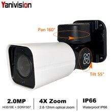 Yanivision cámara bala H.265 1080P IP PTZ, Full HD, Zoom óptico 4X, IP66, impermeable, visión nocturna, IP, Mini PTZ para exteriores