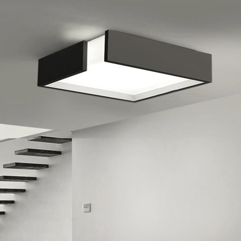 Modern Remote control square LED panel surface mounted ceiling lamp White/Black bathroom lighting AC110-240V luminarias para