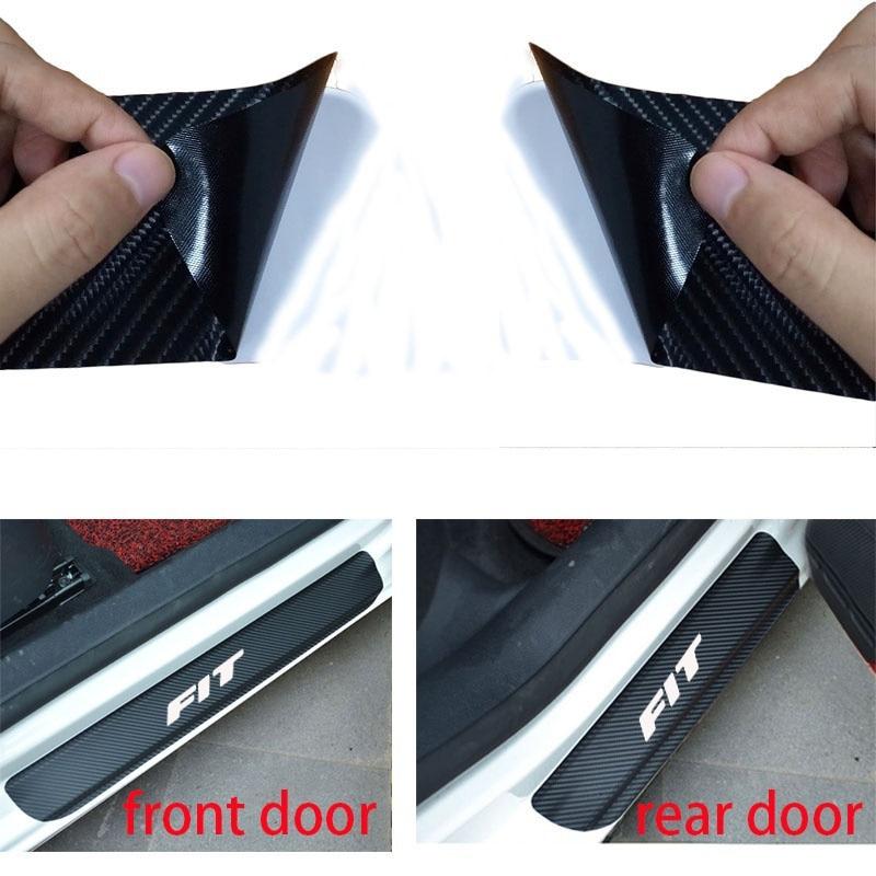 For Honda FIT Carbon Fiber Vinyl Sticker Car Door Sill Protector Scuff Plate Car Accessories стоимость
