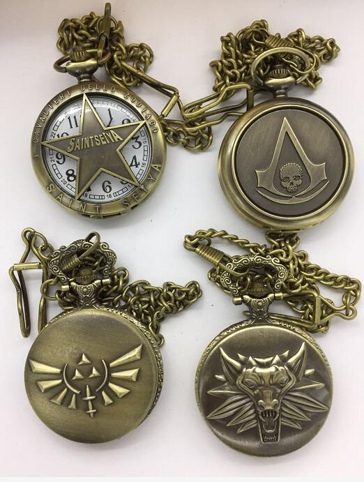 Wholesale 20 PCS/lot Saint Seiya Skull Wolf Bronze Antiques FOB Chain Pocket Watches Gift PO818